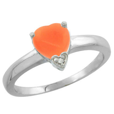 14K White Gold Natural Coral Heart 7x7mm Diamond Accent, sizes 5-10