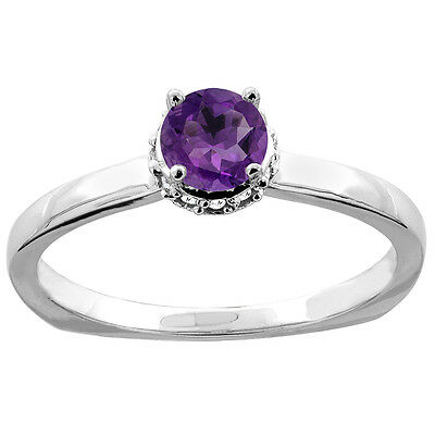 10K White Gold Natural Amethyst Solitaire Engagement Ring Round 4mm Diamond