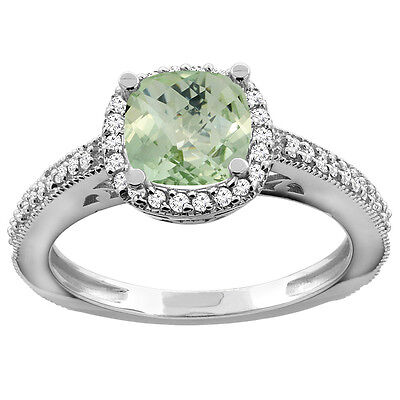 10K White Gold Natural Green Amethyst Engagement Ring Diamond Halo Cushion 7mm,