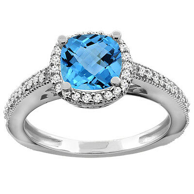 10K White Gold Natural Swiss Blue Topaz Engagement Ring Diamond Halo Cushion