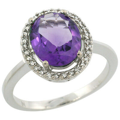 10K White Gold Diamond Halo Natural Amethyst Engagement Ring Oval 10X8 mm, size