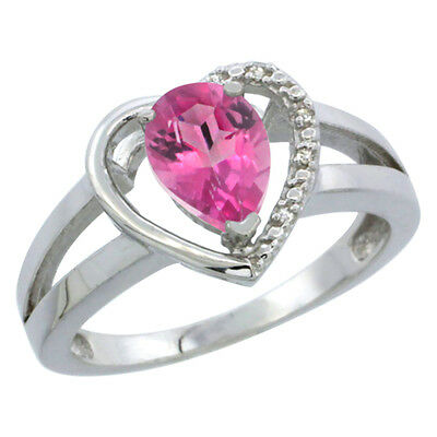 10K White Gold Natural Pink Topaz Ring Pear 7x5 mm Diamond Accent, sizes 5-10