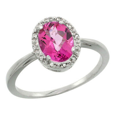 10K White Gold Natural Pink Topaz Diamond Halo Engagement Ring Oval 8X6mm, size