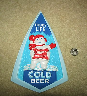 "(1950's) MILLER HIGH LIFE beer ""SNOWMAN"" COLD BEER vacuum formed sign"
