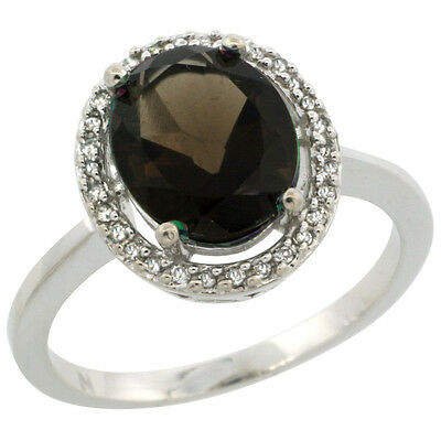 10K White Gold Diamond Halo Natural Smoky Topaz Engagement Ring Oval 10X8 mm,