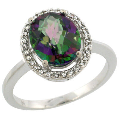 10K White Gold Natural Diamond Halo Mystic Topaz Engagement Ring Oval 10X8 mm,