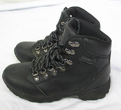 Black leather waterproof lace up walking hiking boots GELERT size UK 3