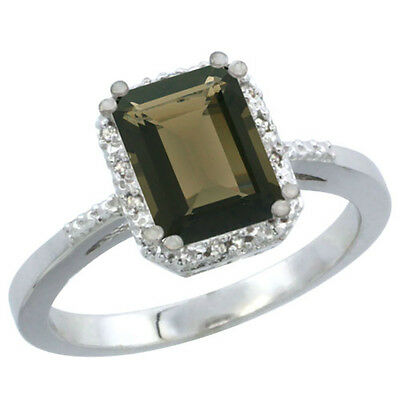 10K White Gold Natural Smoky Topaz Ring Emerald-shape 8x6mm Diamond Accent, size