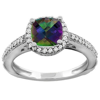 10K White Gold Natural Mystic Topaz Engagement Ring Diamond Halo Cushion 7mm,