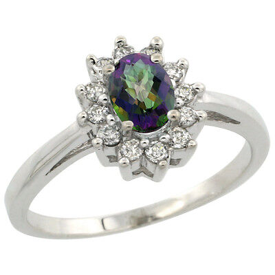 10K White Gold Diamond Halo Natural Mystic Topaz Engagement Ring Oval 6X4mm,