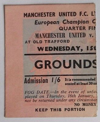 1957-58 MANCHESTER UNITED vs.RED STAR BELGRADE - EUROPEAN CUP 1/4 - PINK TICKET