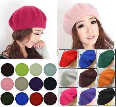 French Style Vintage Warm Plain Beret Beanie Hat made of 100%  Quality Wool
