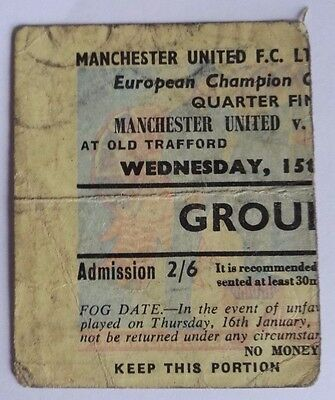 1957-58 MANCHESTER UNITED vs.RED STAR BELGRADE - EUROPEAN CUP 1/4 YELLOW TICKET