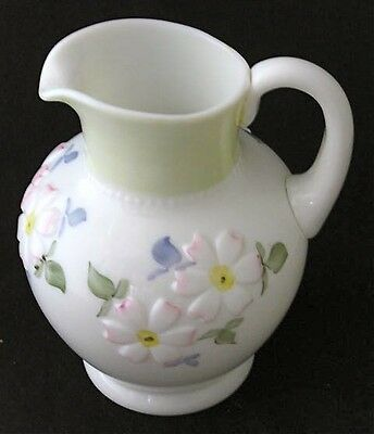 Consolidated green decorated milk glass COREOPSIS pitcher EAPG