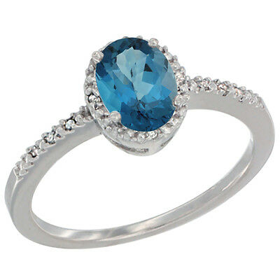 10K White Gold Diamond Natural London Blue Topaz Engagement Ring Oval 7x5 mm,