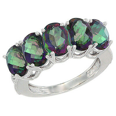 10K White Gold Natural Mystic Topaz 1 ct. Oval 7x5mm 5-Stone Mother's Ring with