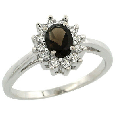 10K White Gold Diamond Halo Natural Smoky Topaz Engagement Ring Oval 6X4mm, size