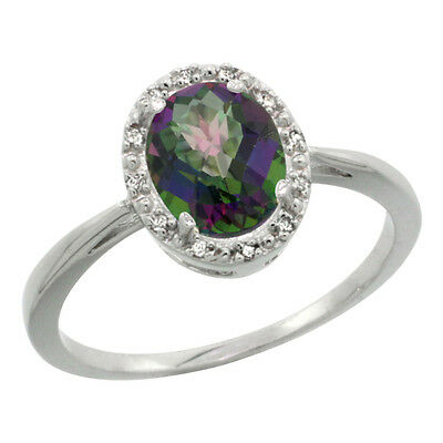 10K White Gold Natural Mystic Topaz Diamond Halo Engagement Ring Oval 8X6mm,