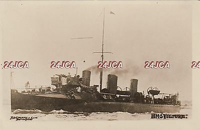 "Royal Navy Real Photo. HMS ""Vulture"" 30 knot Destroyer. Patrols Thames. c 1900"