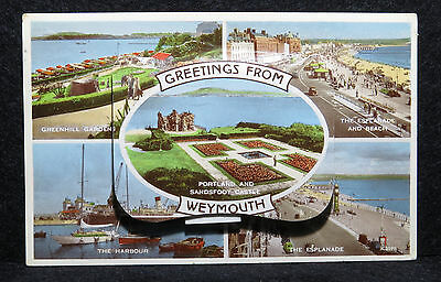Valentines Mailing Novelty Postcard - Weymouth Multi With Pull Out Pictures - 59