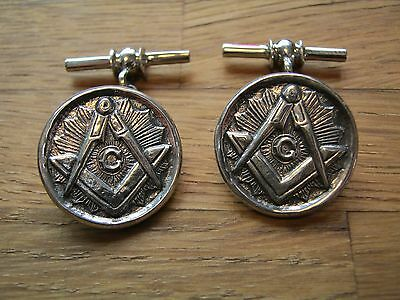 A Pair Of Good Quality Solid Silver Masonic Cufflinks - Freemasons Masons