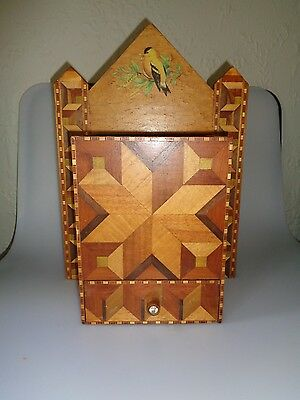 Vintage Inlaid Wood Box Drawer Wall Hanging Parquet Marquetry 16X11X6 Unusual