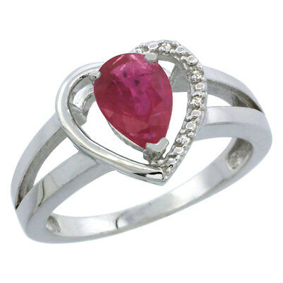10K White Gold Enhanced Ruby Ring Pear 7x5 mm Diamond Accent, sizes 5-10