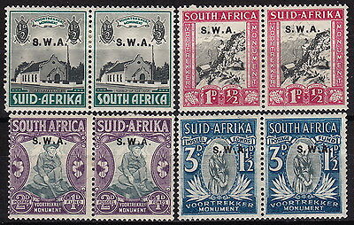 SOUTH WEST AFRICA. 1935-36 Voortrekker Monument set, mint pairs.