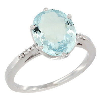 10K White Gold Natural Aquamarine Ring 10x8 mm Oval Diamond Accent, size 10