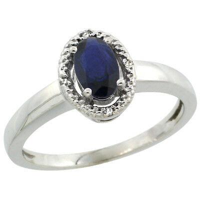 10K White Gold Diamond Halo Natural High Quality Blue Sapphire Engagement Ring