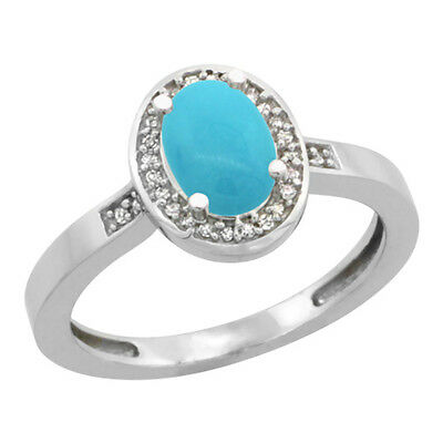 10K White Gold Natural Diamond Sleeping Beauty Turquoise Engagement Ring Oval