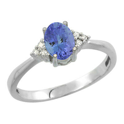 10K White Gold Diamond Natural Tanzanite Engagement Ring Oval 7x5mm, sizes 5-10