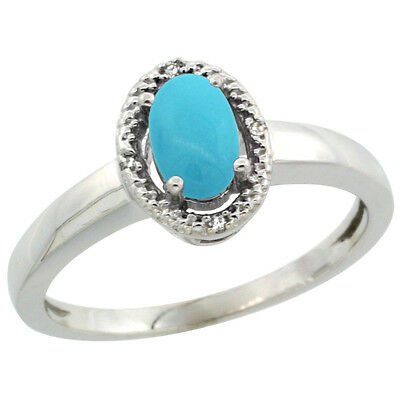 10K White Gold Natural Diamond Halo Sleeping Beauty Turquoise Engagement Ring