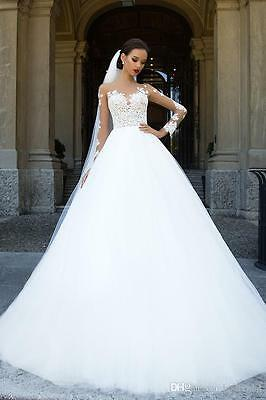 New Long Sleeve White/Ivory Lace Wedding Dress Tulle Bridal Gown Custom Size