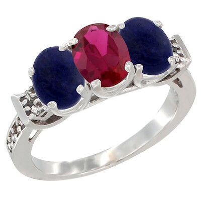 10K White Gold Enhanced Ruby & Natural Lapis Sides Ring 3-Stone Oval 7x5 mm