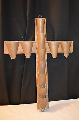 Vintage Galvanised Crucifix Cross Church  Decoration Florists Wall Hanging