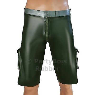 Rubber latex military style cargo short trouser pants shorts HANDMADE Amy green
