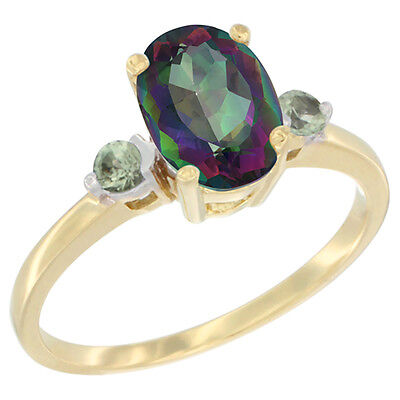 14K Yellow Gold Natural Mystic Topaz Ring Oval 9x7 mm Green Sapphire Accent,