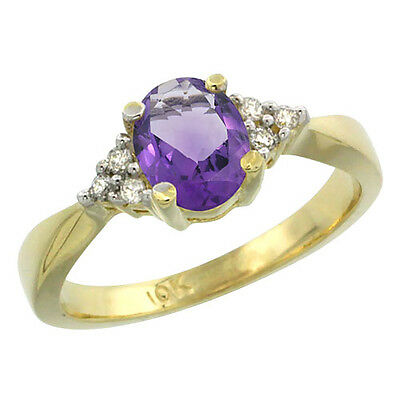 14K Yellow Gold Diamond Natural Amethyst Engagement Ring Oval 7x5mm, sizes 5-10
