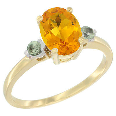 14K Yellow Gold Natural Citrine Ring Oval 9x7 mm Green Sapphire Accent, size 10