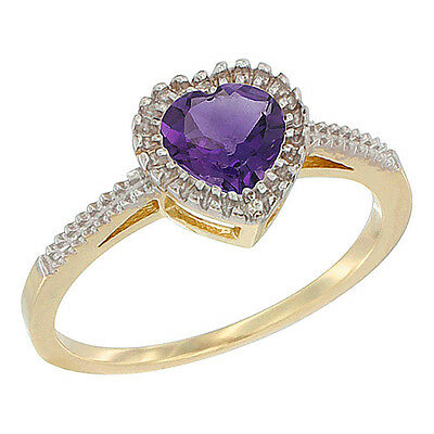 14K Yellow Gold Natural Amethyst Ring Heart 6x6 mm, sizes 5 - 10