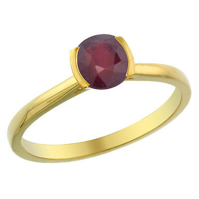 14K Yellow Gold Enhanced Ruby Solitaire Ring Round 5mm, sizes 5 - 10