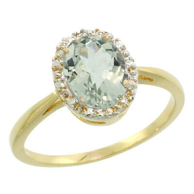 14K Yellow Gold Natural Green Amethyst Diamond Halo Engagement Ring Oval 8X6mm,