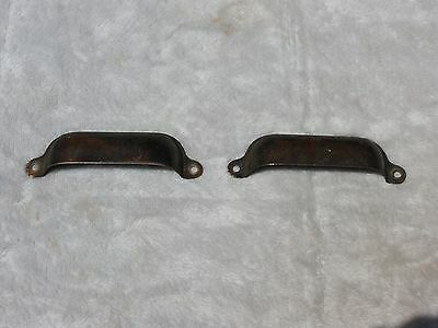 "set of 2 Antique copper plate Bin Handle drawer Cup Pulls 4"" X 1 1/4"""