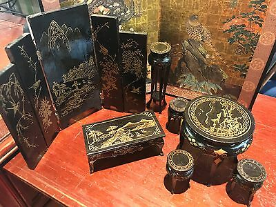 Asian ANTIQUE MEIJI WOOD LACQUER DOLL MINIATURE FURNITURE SET 9 piece