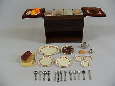 VINTAGE SINDY HOSTESS TROLLEY WITH ACCESSORIES FOOD etc 1970s *IN GOOD CONDITION