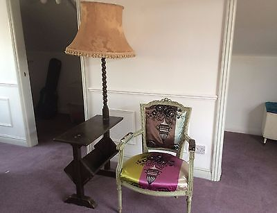 Unusual Antique Standard Lamp With Attached Oak Reading Desk