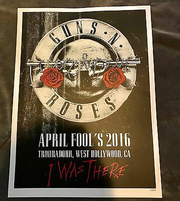 Rare Guns N Roses Hollywood CA Lithograph Poster Not In This Lifetime #274/400