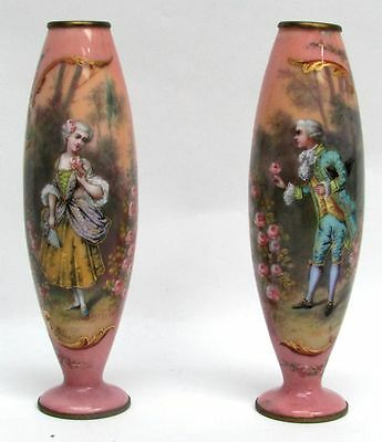 "Charming Pair Of Antique Viennese Austrian Enamel Bronze 6"" Vases Signed Paolo"