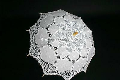 White Lace with Embroidery Wedding Parasol